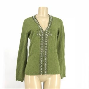 J. Crew Women Wool/Cashmere embellished sweater